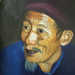manipuri old man, 12 x 16 inch, sumit chandel,12x16inch,canvas,paintings,portrait paintings,paintings for living room,paintings for office,paintings for hotel,paintings for living room,paintings for office,paintings for hotel,oil color,GAL01824229655