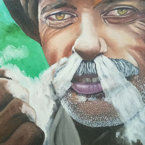 smoking man, 16 x 12 inch, sumit chandel,16x12inch,canvas,paintings,portrait paintings,paintings for living room,paintings for office,paintings for hotel,oil color,GAL01824229657