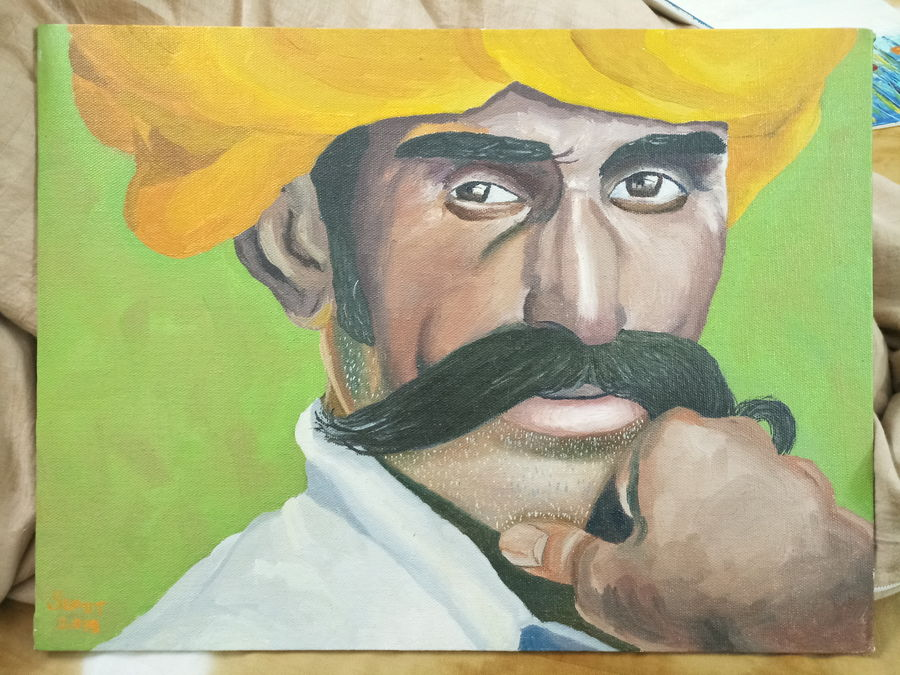 attitude, 16 x 12 inch, sumit chandel,16x12inch,canvas,paintings,portrait paintings,paintings for living room,paintings for office,paintings for hotel,oil color,GAL01824229659