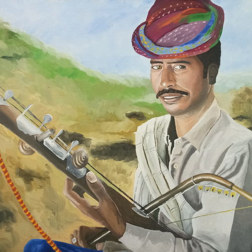folk musician , 30 x 22 inch, sumit chandel,30x22inch,canvas,paintings,folk art paintings,portrait paintings,paintings for dining room,paintings for living room,paintings for bedroom,paintings for bathroom,paintings for kids room,paintings for hotel,paintings for kitchen,paintings for school,paintings for hospital,oil color,GAL01824229663