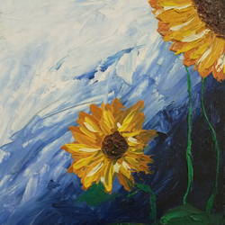 sunflowers, 10 x 12 inch, sumit chandel,10x12inch,canvas,paintings,flower paintings,paintings for dining room,paintings for living room,paintings for bedroom,paintings for office,paintings for bathroom,paintings for kids room,paintings for hotel,paintings for kitchen,paintings for school,paintings for hospital,oil color,GAL01824229664