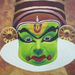 kathakali dancer, 12 x 16 inch, sumit chandel,12x16inch,canvas,paintings,portrait paintings,paintings for dining room,paintings for living room,paintings for bedroom,paintings for office,paintings for bathroom,paintings for kids room,paintings for hotel,paintings for kitchen,paintings for school,paintings for hospital,oil color,GAL01824229665
