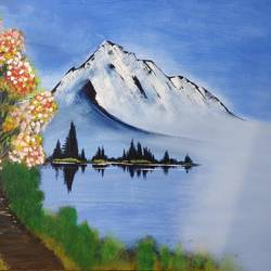 snow hill, 30 x 24 inch, samir lingwal,30x24inch,canvas,paintings,landscape paintings,paintings for dining room,paintings for bedroom,paintings for office,paintings for hotel,acrylic color,GAL01818729667