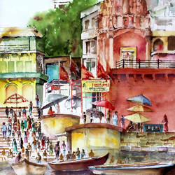 temple at banaras ghat, 22 x 30 inch, pandit mulay,landscape paintings,paintings for living room,religious paintings,thick paper,watercolor,22x30inch,GAL04522968