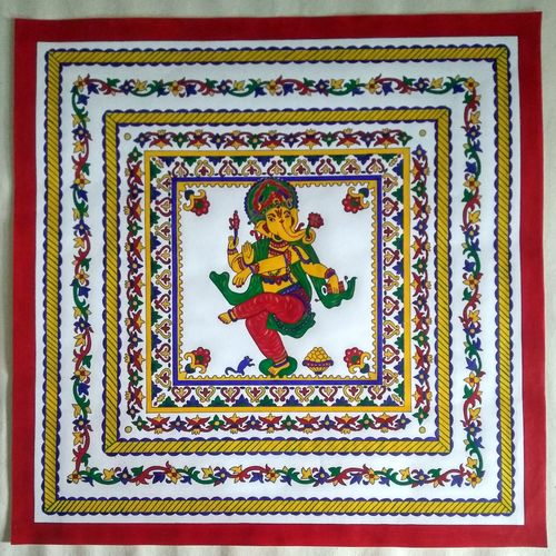 ganesha with multiple borders, 19 x 19 inch, geeta kwatra,19x19inch,canson paper,paintings,religious paintings,ganesha paintings   lord ganesh paintings,paintings for living room,paintings for hotel,paintings for hospital,acrylic color,mixed media,GAL0899129688