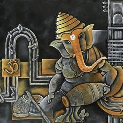 ganesha, 49 x 30 inch, ila  singh,49x30inch,canvas,paintings,abstract paintings,figurative paintings,conceptual paintings,religious paintings,cubism paintings,illustration paintings,impressionist paintings,photorealism paintings,photorealism,realism paintings,ganesha paintings | lord ganesh paintings,realistic paintings,paintings for dining room,paintings for bedroom,paintings for office,paintings for kids room,paintings for hotel,paintings for school,acrylic color,GAL0795929691