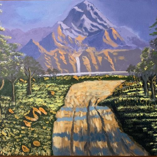road to waterfall, 20 x 16 inch, prateek  tripathi,20x16inch,canvas board,paintings,landscape paintings,paintings for dining room,paintings for living room,paintings for bedroom,paintings for office,paintings for hotel,acrylic color,GAL01825929692