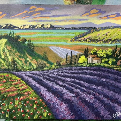 lavender field, 20 x 16 inch, prateek  lucifer  tripathi,20x16inch,canvas,paintings,landscape paintings,nature paintings | scenery paintings,impressionist paintings,contemporary paintings,realistic paintings,paintings for dining room,paintings for living room,paintings for bedroom,paintings for office,paintings for hotel,paintings for school,acrylic color,GAL01825929693