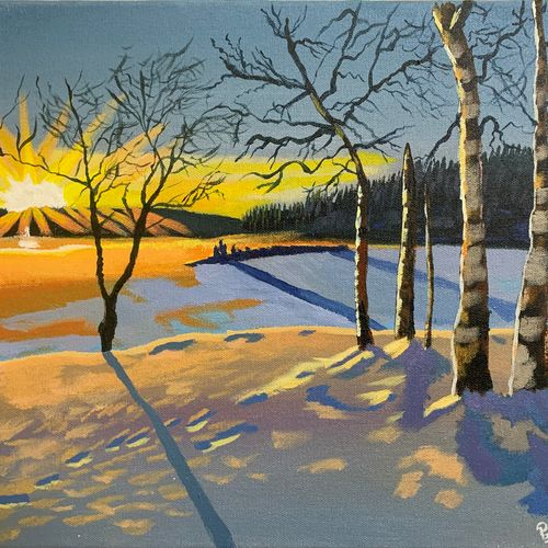 winter sunrise , 16 x 12 inch, prateek  lucifer  tripathi,16x12inch,canvas,paintings,landscape paintings,nature paintings   scenery paintings,impressionist paintings,realism paintings,paintings for dining room,paintings for living room,paintings for bedroom,paintings for office,paintings for bathroom,paintings for kids room,paintings for hotel,paintings for kitchen,paintings for school,paintings for hospital,acrylic color,GAL01825929697