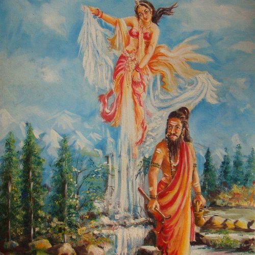 bhagirarh effort, 24 x 36 inch, pandit mulay,religious paintings,paintings for living room,canvas,oil,24x36inch,GAL04522970