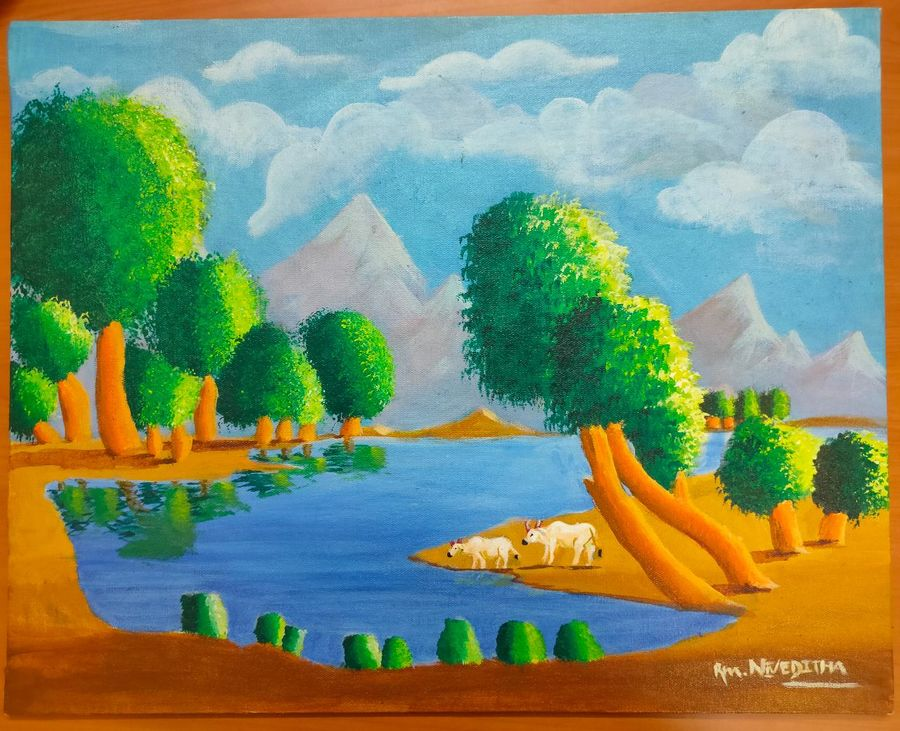 children painting, 11 x 17 inch, nivethitha singaram,11x17inch,canvas board,nature paintings | scenery paintings,oil color,GAL01826629702
