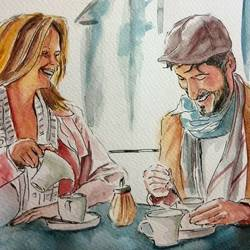 things happen over coffee, 12 x 8 inch, deepthi telikicherla,portrait paintings,paintings for dining room,figurative paintings,brustro watercolor paper,watercolor,12x8inch,GAL08822971