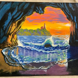 sinrise in the cave, 16 x 12 inch, prateek  lucifer  tripathi,16x12inch,canvas board,paintings,landscape paintings,nature paintings | scenery paintings,impressionist paintings,realism paintings,paintings for dining room,paintings for living room,paintings for bedroom,paintings for office,paintings for bathroom,paintings for kids room,paintings for hotel,paintings for school,paintings for hospital,acrylic color,GAL01825929716