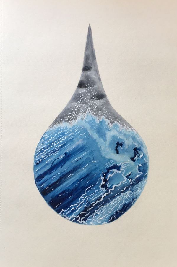 oil - an ocean in a drop, 10 x 13 inch, p sisira,abstract paintings,paintings for living room,thick paper,oil paint,10x13inch,GAL011602973