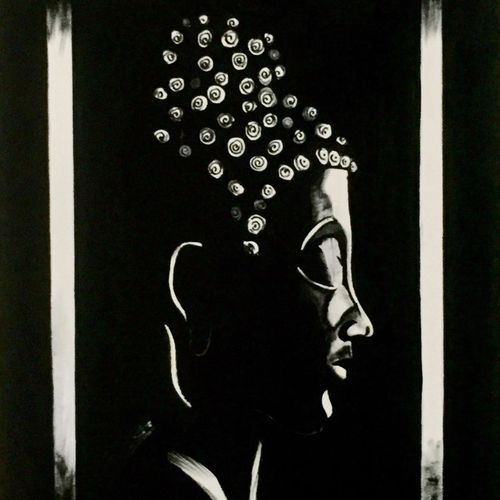 black and white lord buddha art , 21 x 24 inch, akash bhisikar,21x24inch,canvas,paintings,abstract paintings,buddha paintings,figurative paintings,folk art paintings,modern art paintings,religious paintings,ganesha paintings | lord ganesh paintings,contemporary paintings,paintings for dining room,paintings for living room,paintings for bedroom,paintings for office,paintings for kids room,paintings for hotel,paintings for kitchen,paintings for school,paintings for hospital,acrylic color,GAL01828629731