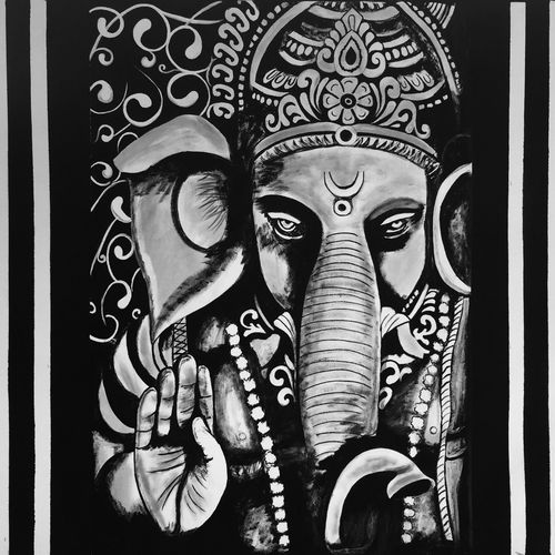 vighnaharata, 40 x 34 inch, akash bhisikar,40x34inch,canvas,paintings,abstract paintings,religious paintings,ganesha paintings   lord ganesh paintings,contemporary paintings,elephant paintings,paintings for dining room,paintings for living room,paintings for office,paintings for bathroom,paintings for kids room,paintings for hotel,paintings for kitchen,paintings for school,paintings for hospital,acrylic color,GAL01828629732