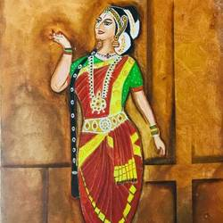 bharatanatyam dance, 14 x 18 inch, indra pandey,14x18inch,canvas,paintings,folk art paintings,paintings for dining room,paintings for living room,paintings for bedroom,paintings for office,paintings for bathroom,paintings for kids room,paintings for hotel,paintings for kitchen,paintings for school,paintings for hospital,acrylic color,GAL01406329757