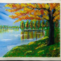 autumn tree and water, 12 x 9 inch, indra pandey,12x9inch,canvas,paintings,landscape paintings,nature paintings | scenery paintings,paintings for dining room,paintings for living room,paintings for bedroom,paintings for office,paintings for bathroom,paintings for kids room,paintings for hotel,paintings for kitchen,paintings for school,paintings for hospital,paintings for dining room,paintings for living room,paintings for bedroom,paintings for office,paintings for bathroom,paintings for kids room,paintings for hotel,paintings for kitchen,paintings for school,paintings for hospital,acrylic color,GAL01406329758