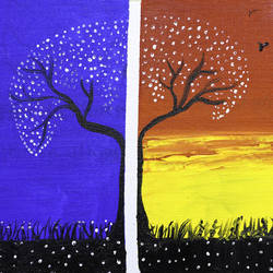 half n half  creation of nature, 12 x 10 inch, raj sinha,12x10inch,canvas,paintings,landscape paintings,nature paintings   scenery paintings,paintings for dining room,paintings for living room,paintings for bedroom,paintings for office,paintings for hotel,acrylic color,GAL01831229769