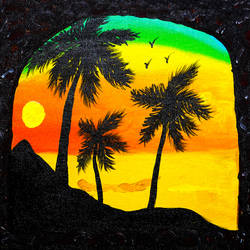 sunset by the sea, 12 x 10 inch, raj sinha,12x10inch,canvas,paintings,landscape paintings,nature paintings | scenery paintings,paintings for dining room,paintings for living room,paintings for bedroom,paintings for office,paintings for hotel,acrylic color,GAL01831229771