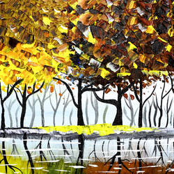 the autumn tree, 12 x 10 inch, raj sinha,12x10inch,canvas,paintings,landscape paintings,nature paintings | scenery paintings,paintings for dining room,paintings for living room,paintings for bedroom,paintings for office,paintings for bathroom,paintings for kids room,paintings for hotel,paintings for kitchen,paintings for school,paintings for hospital,acrylic color,GAL01831229782
