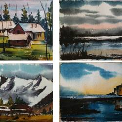 landscape, 15 x 11 inch, shankhadeep  mondal,15x11inch,handmade paper,paintings,landscape paintings,paintings for dining room,paintings for living room,paintings for bedroom,paintings for office,paintings for kids room,paintings for hotel,paintings for kitchen,paintings for school,paintings for hospital,watercolor,GAL01403029785