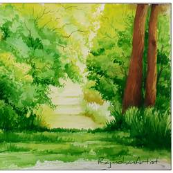 green scape , 16 x 11 inch, rajmohan ramamoorthi,16x11inch,canson paper,paintings,landscape paintings,nature paintings | scenery paintings,paintings for dining room,paintings for living room,paintings for bedroom,paintings for office,paintings for kids room,paintings for hotel,paintings for school,paintings for hospital,watercolor,GAL01816129789