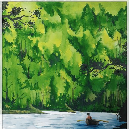 man on a boat, 11 x 16 inch, rajmohan ramamoorthi,11x16inch,canson paper,paintings,landscape paintings,nature paintings | scenery paintings,paintings for living room,paintings for bedroom,paintings for hotel,paintings for hospital,watercolor,GAL01816129790