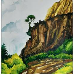 mountain scape , 16 x 11 inch, rajmohan ramamoorthi,16x11inch,canson paper,paintings,landscape paintings,nature paintings | scenery paintings,paintings for living room,paintings for office,paintings for kids room,paintings for hotel,paintings for school,paintings for hospital,watercolor,GAL01816129791