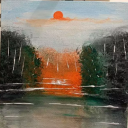 sunrise in the forest, 12 x 12 inch, anshika tiwari,12x12inch,canvas,nature paintings | scenery paintings,paintings for dining room,paintings for dining room,acrylic color,GAL01594729796
