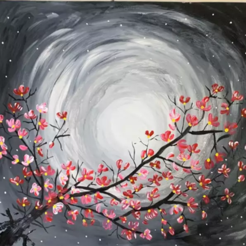 flowers blossom in white moon, 12 x 18 inch, anshika tiwari,12x18inch,thick paper,paintings,flower paintings,paintings for dining room,paintings for living room,paintings for bedroom,acrylic color,GAL01594729798