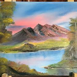 view of the mountains , 24 x 18 inch, kamala  gopalan,24x18inch,canvas,paintings,landscape paintings,oil color,GAL01835529809