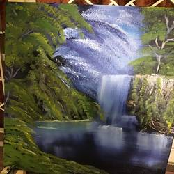 waterfall in the woods , 18 x 24 inch, kamala  gopalan,18x24inch,canvas,nature paintings | scenery paintings,oil color,GAL01835529810