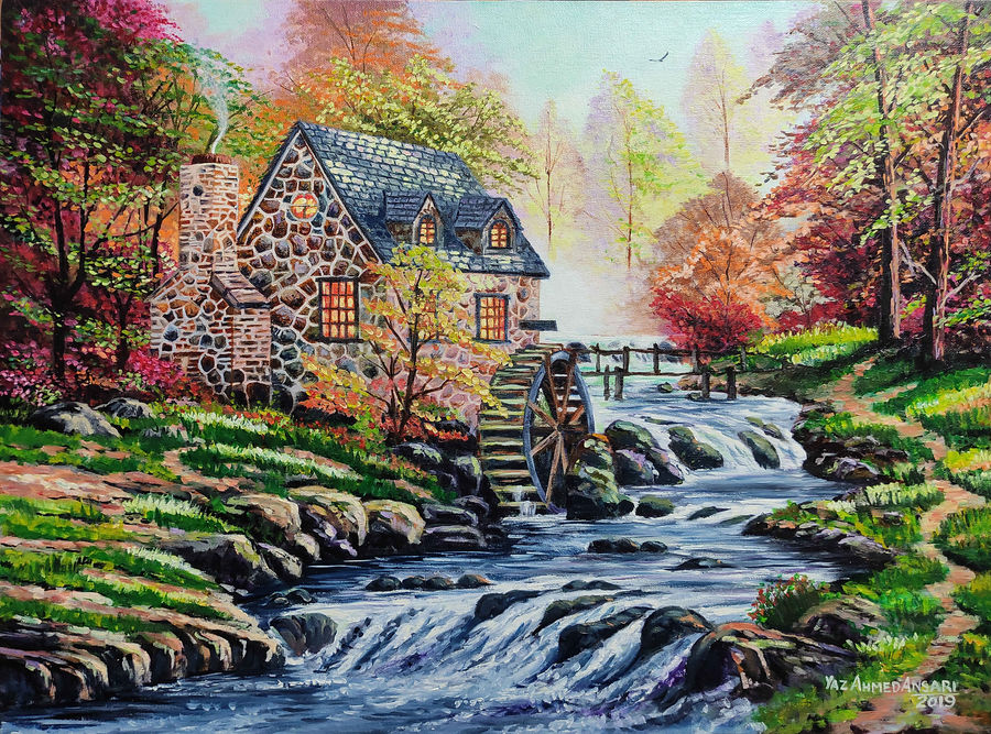 water mill house, 24 x 18 inch, yaz ahmed ansari,24x18inch,canvas board,landscape paintings,nature paintings | scenery paintings,oil color,GAL0426129811