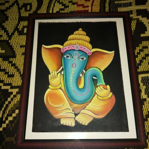 ganapathi, 12 x 17 inch, janaki desikachari ,12x17inch,thick paper,religious paintings,paintings for living room,paintings for kitchen,paintings for living room,paintings for kitchen,oil color,GAL01812029827