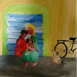 family, 16 x 12 inch, sumdima rai,abstract paintings,paintings for bedroom,drawing paper,acrylic color,16x12inch,GAL010972983