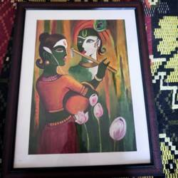 radha krishna, 12 x 17 inch, janaki desikachari ,12x17inch,thick paper,paintings,religious paintings,paintings for living room,oil color,GAL01812029831