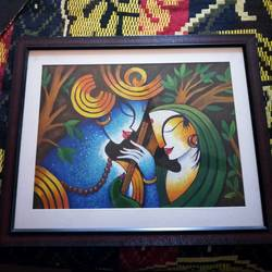 radha krishna, 12 x 17 inch, janaki desikachari ,12x17inch,thick paper,paintings,radha krishna paintings,paintings for living room,oil color,GAL01812029833