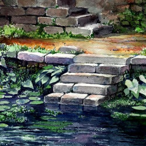 pond, 16 x 11 inch, siva raja,16x11inch,handmade paper,landscape paintings,nature paintings | scenery paintings,paintings for living room,paintings for living room,watercolor,paper,GAL01840229838