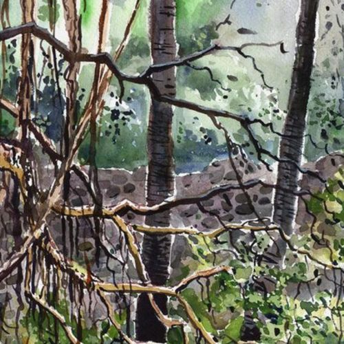broken tree, 11 x 16 inch, siva raja,11x16inch,handmade paper,landscape paintings,nature paintings | scenery paintings,paintings for living room,paintings for office,paintings for living room,paintings for office,watercolor,GAL01840229839