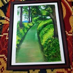 scenery, 12 x 17 inch, janaki desikachari ,12x17inch,thick paper,paintings,landscape paintings,paintings for living room,oil color,GAL01812029841