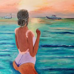 at the beach, 24 x 24 inch, bindu revanna,24x24inch,canvas,paintings,abstract paintings,figurative paintings,modern art paintings,paintings for living room,paintings for bedroom,paintings for hotel,acrylic color,GAL01840429844