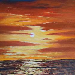 sunset at sea, 12 x 14 inch, bindu revanna,12x14inch,canvas,paintings,abstract paintings,landscape paintings,realistic paintings,paintings for dining room,paintings for living room,paintings for bedroom,paintings for office,paintings for kids room,paintings for hotel,paintings for school,acrylic color,GAL01840429846