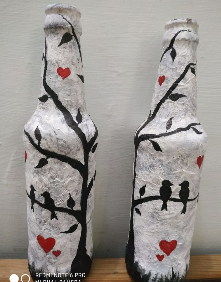 love birds, 3 x 11 inch, poornima sahu,3x11inch,acrylic glass,handicrafts,mugs,poster color,paper,GAL0447129849