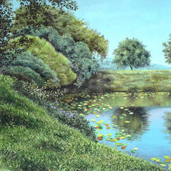 little pond, 14 x 12 inch, pushpendra singh mandloi,14x12inch,thick paper,landscape paintings,nature paintings | scenery paintings,acrylic color,oil color,GAL0726229852