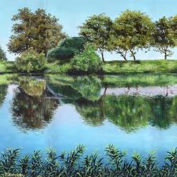 reflection, 14 x 12 inch, pushpendra singh mandloi,14x12inch,oil sheet,paintings,landscape paintings,still life paintings,photorealism,oil color,GAL0726229853