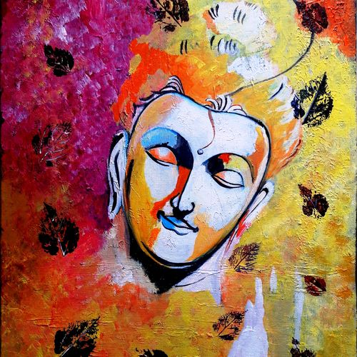 lord gautam buddha  1, 16 x 20 inch, indhuja raghavan,buddha paintings,paintings for living room,canvas board,acrylic color,16x20inch,religious,peace,meditation,meditating,gautam,goutam,buddha,lord,colourful,face,GAL01102986