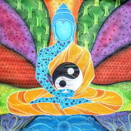 buddha -essence, 22 x 22 inch, colorful art arts and crafts,buddha paintings,paintings for living room,vertical,canvas,acrylic color,22x22inch,GAL03932987