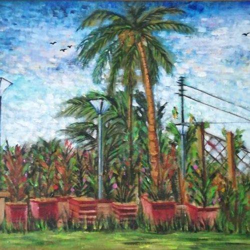 garden, 19 x 14 inch, pratims hoare,19x14inch,canvas,paintings,landscape paintings,paintings for living room,paintings for living room,acrylic color,GAL01136229870