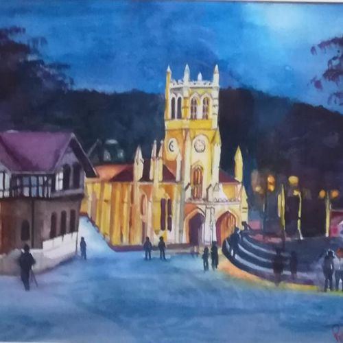 church, 17 x 13 inch, pratims hoare,17x13inch,handmade paper,paintings,cityscape paintings,paintings for living room,watercolor,GAL01136229871